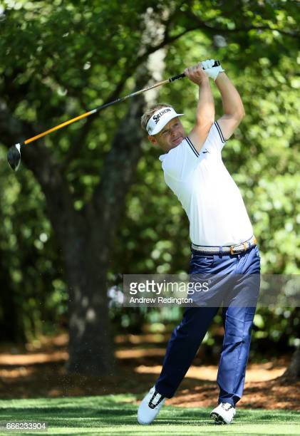 Soren Kjeldsen of Denmark plays his shot from the second tee during the third round of the 2017 Masters Tournament at Augusta National Golf Club on...