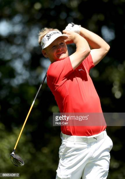 Soren Kjeldsen of Denmark plays his shot from the second tee during the final round of the 2017 Masters Tournament at Augusta National Golf Club on...