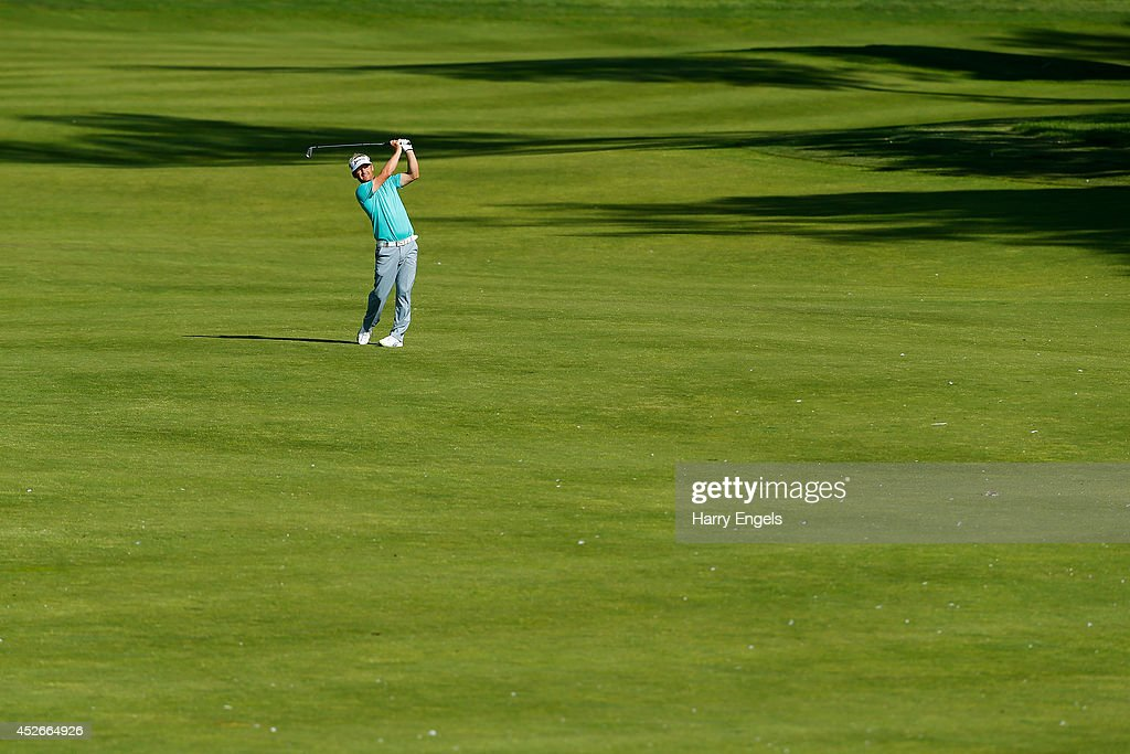 <a gi-track='captionPersonalityLinkClicked' href=/galleries/search?phrase=Soren+Kjeldsen&family=editorial&specificpeople=242923 ng-click='$event.stopPropagation()'>Soren Kjeldsen</a> of Denmark plays off the fairway at the fifteenth on day two of the M2M Russian Open at Tseleevo Golf & Polo Club on July 25, 2014 in Moscow, Russia.