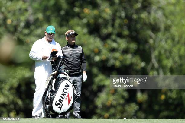 Soren Kjeldsen of Denmark prepares to play his second shot on the fifth hole during the second round of the 2017 Masters Tournament at Augusta...