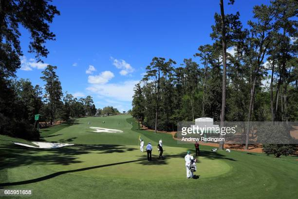 Soren Kjeldsen of Denmark putts on the tenth green during the second round of the 2017 Masters Tournament at Augusta National Golf Club on April 7...