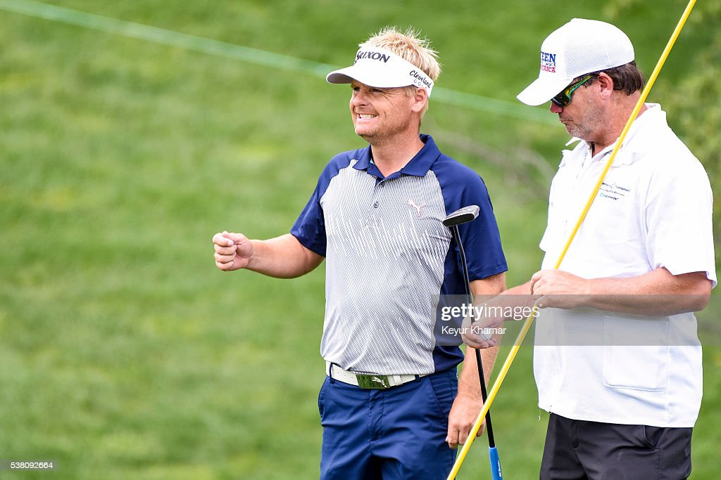 Soren Kjeldsen of Denmark reacts after a bogey on the 17th hole green during the third round of the Memorial Tournament presented by Nationwide at...