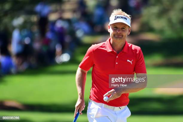 Soren Kjeldsen of Denmark reacts after making par on the seventh hole during the final round of the 2017 Masters Tournament at Augusta National Golf...