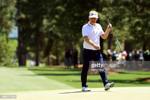 Soren Kjeldsen of Denmark reacts on the first green during the third round of the 2017 Masters Tournament at Augusta National Golf Club on April 8...