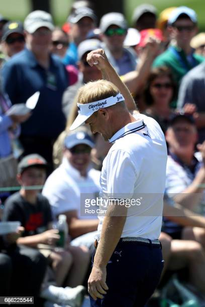 Soren Kjeldsen of Denmark reacts on the second green during the third round of the 2017 Masters Tournament at Augusta National Golf Club on April 8...