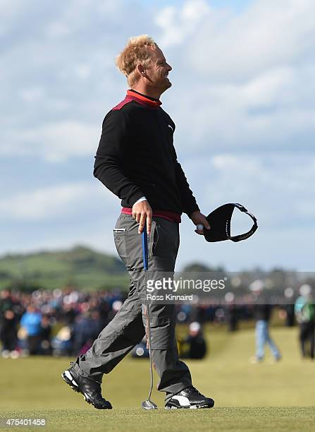 Soren Kjeldsen of Denmark reacts to his victory in a playoff on the 18th green during the Final Round of the Dubai Duty Free Irish Open Hosted by the...