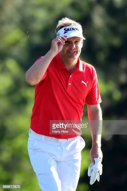 Soren Kjeldsen of Denmark smiles on the 18th hole during the final round of the 2017 Masters Tournament at Augusta National Golf Club on April 9 2017...