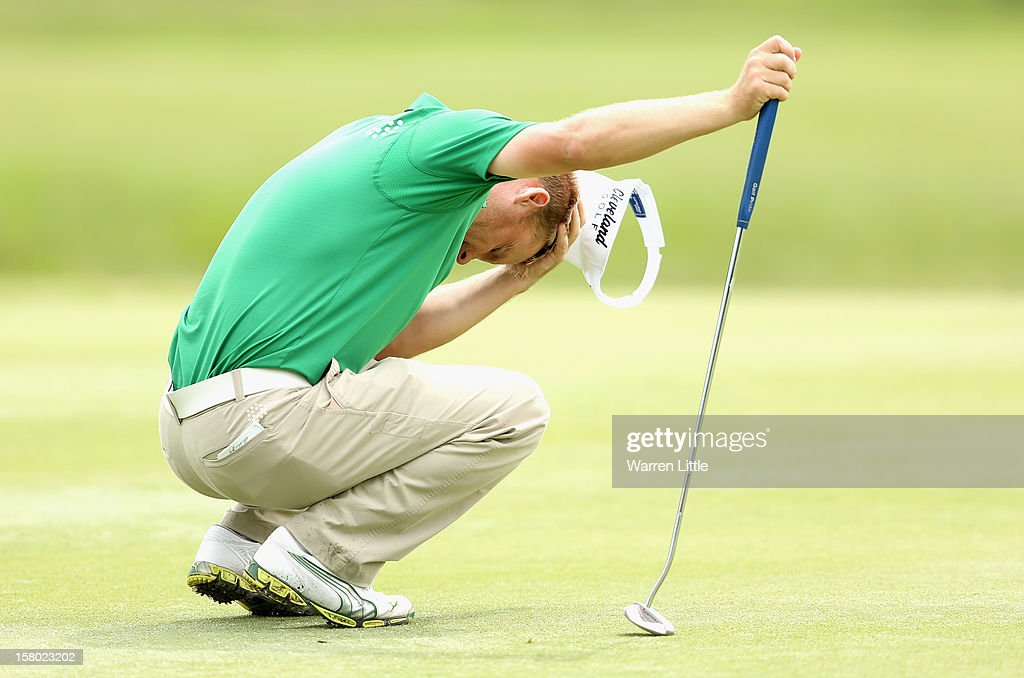 Soren Kjeldsen of Denmark takes a moment during the second round of The Nelson Mandela Championship presented by ISPS Handa at Royal Durban Golf Club on December 9, 2012 in Durban, South Africa.