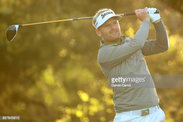 Soren Kjeldsen of Denmark tees off on the 2nd hole of his match during round four of the World Golf ChampionshipsDell Technologies Match Play at the...