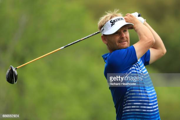 Soren Kjeldsen of Denmark tees off on the 2nd hole of his match during round one of the World Golf ChampionshipsDell Technologies Match Play at the...