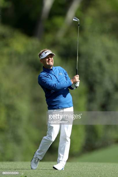 Soren Kjeldsen of Denmark watches his second shot on the fifth hole during the first round of the 2017 Masters Tournament at Augusta National Golf...