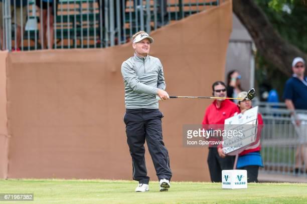 Soren Kjeldsen watches his drive during the third round of the Valero Texas Open at the TPC San Antonio Oaks Course in San Antonio TX on April 22 2017