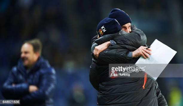 Soren Krogh assistant coach of FC Nordsjalland and Kasper Hjulmand head coach of FC Nordsjalland celebrate after the Danish Alka Superliga match...