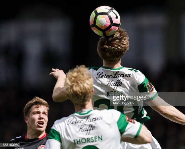 Soren Reese of Viborg FF controls the ball during the Danish Alka Superliga match between Viborg FF and AaB Aalborg at Energi Viborg Arena on April...