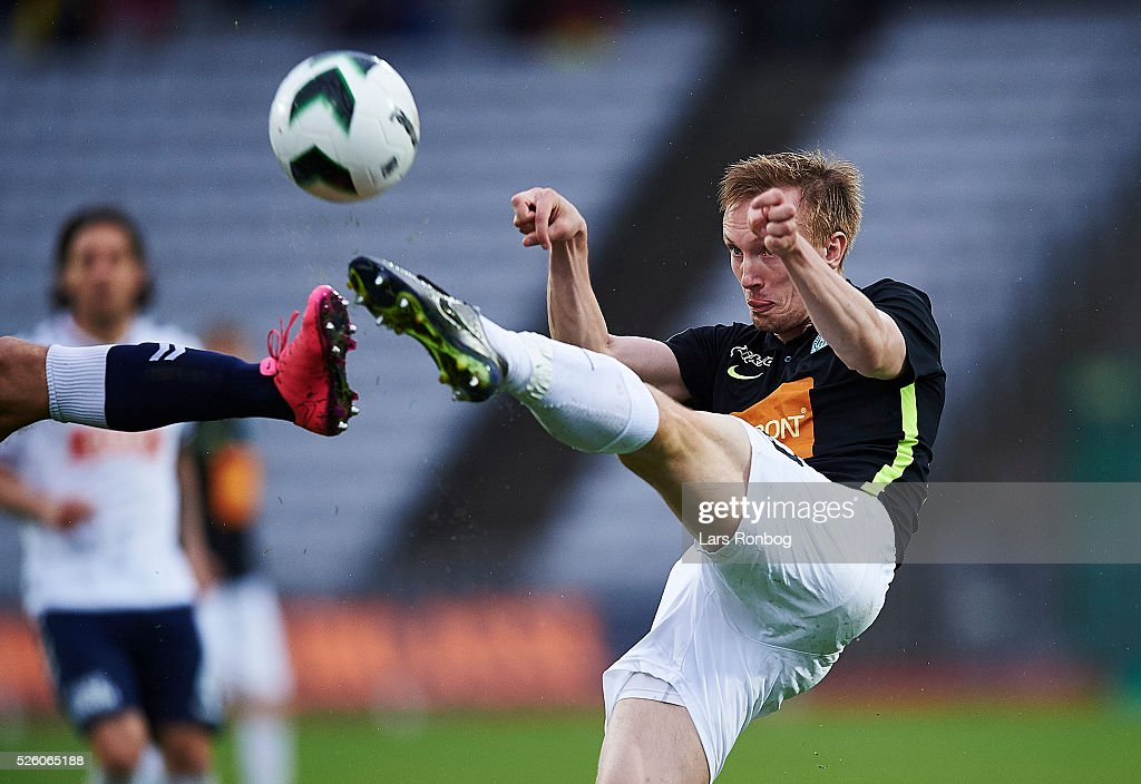 Soren Reese of Viborg FF in action during the Danish Alka Superliga match between AGF Aarhus and Viborg FF at Ceres Park on April 29, 2016 in Aarhus, Denmark.