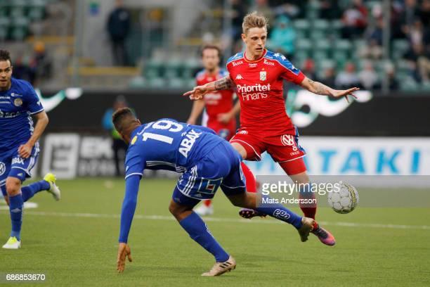 Soren Rieks of IFK Goteborg and Noah Sonko Sundberg of GIF Sundsvall during the Allsvenskan match between GIF Sundsvall and IFK Goteborg at...