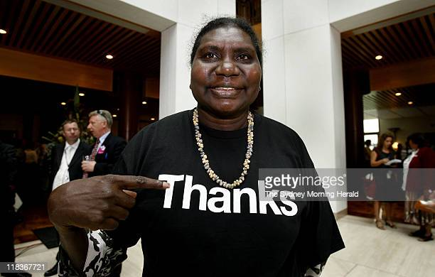 Sorry Day Sydney Member of the Australian Reconciliation Board Raymattja Marika wears a shirt saying thanks in response to the Prime Minister Kevin...