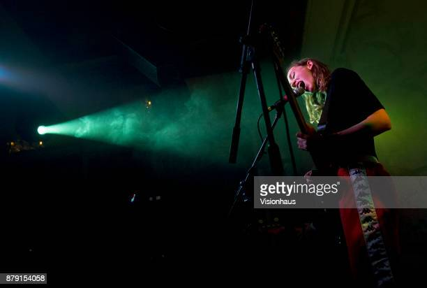 Sorry lead singer and guiatrist Asha Lorenz performs with the band as support to Childhood at the Deaf Institute Manchester on November 22 2017 in...
