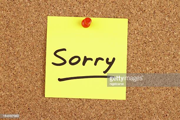 Sorry written on an Adhesive Note
