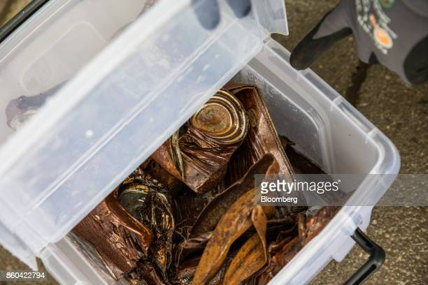 Sorted ferrous metal sits in a storage tub at the Renesciencewaste energy plantoperated by Dong Energy A/S in Northwich UK on Thursday Oct 5 2017...