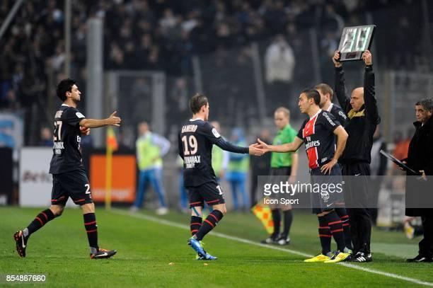 Sortie pour Javier PASTORE / Kevin GAMEIRO / Entee de Mevlut ERDING Marseille / PSG 15eme Journee de Ligue 1