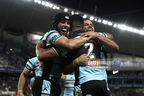 Sosaia Feki of the Sharks celebrates with his team mates after scoring a try during the NRL Preliminary Final match between the Cronulla Sharks and...