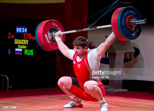 Soslan Dzagoev of Russia A competes in Men's 105kg during day seven of the 2013 Junior Weightlifting World Championship at Maria Angola Convention...
