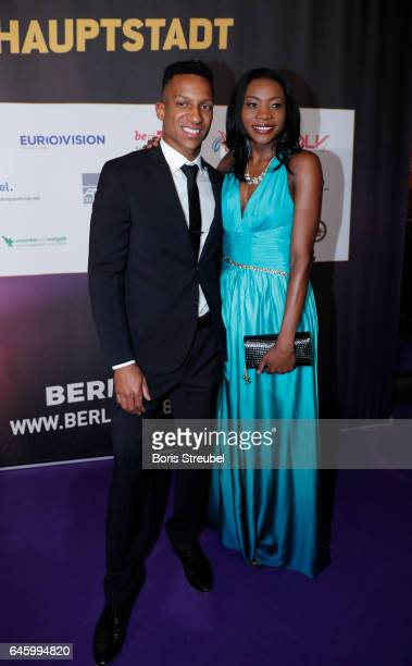 Sosthene Moguenara and Raphael Holzdeppe pose on the red carpet prior to the Berlin 2018 European Athletics Championships Video Premiere at Zoo...