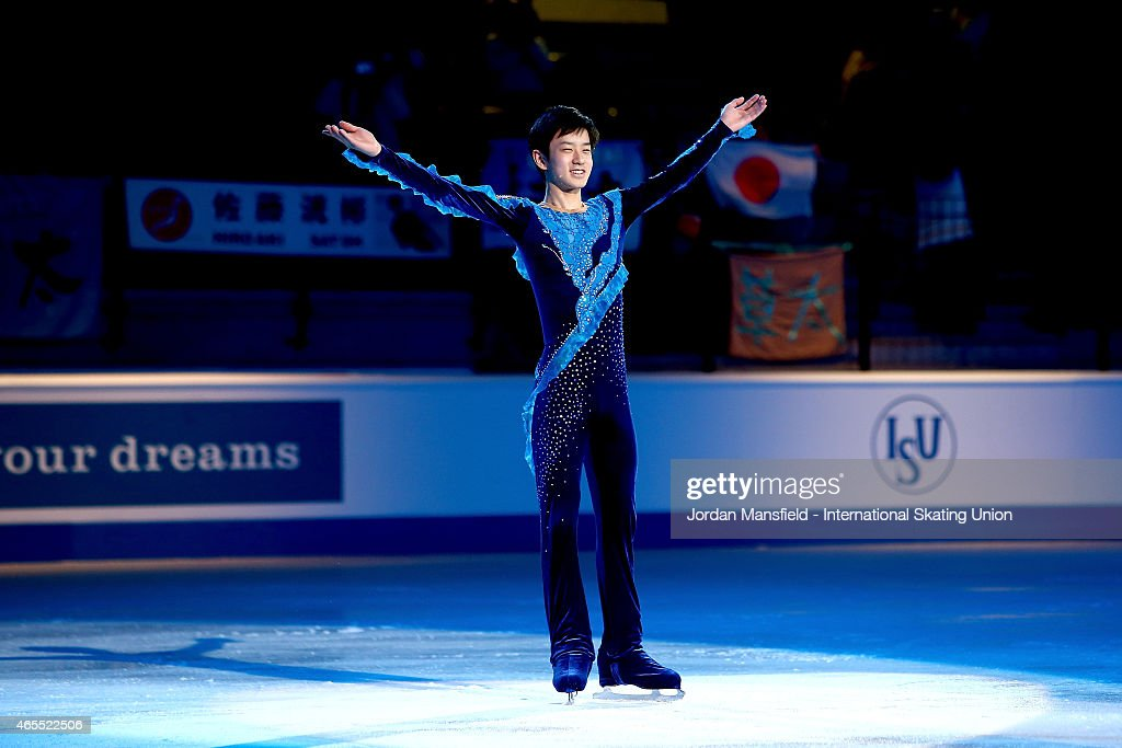Sota Yamamoto of Japan acknowledges the crowd after coming third in the Junior Men's Competition on Day 4 of the ISU World Junior Figure Skating Championships at Tondiraba Ice Arena on March 7, 2015 in Tallinn, Estonia.
