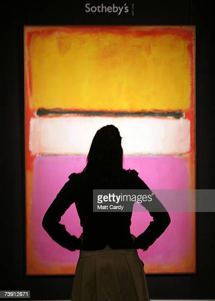 Sotheby's employee Roxy Pennie looks at the Mark Rothko painting which is expected to make GBP 25million at Auction on May 15 2007 in New York