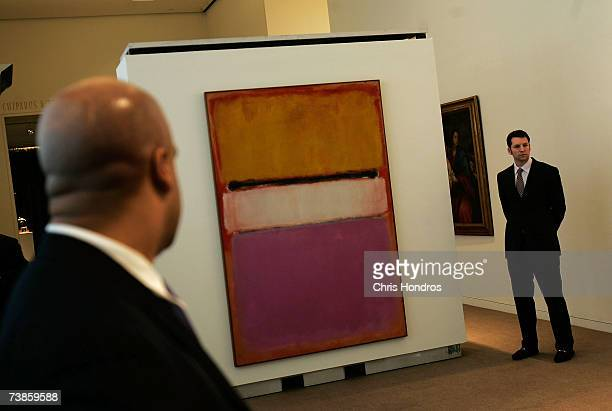 Sotheby's staff stand by Mark Rothko's White Center April 11 2007 at Sotheby's auction house in New York Sotheby's is planning a sale of hundreds of...