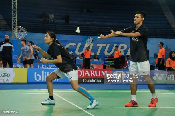 Sothon Wachirawit and Supisara Paewsampran of Thailand compete against Daniel Lundgaard and Amalie Magelund of Denmark during Mixed Double...
