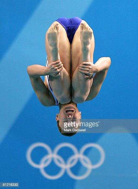 Sotiria Koutsopetrou of Greece competes in the women's diving 3 metre springboard preliminary event on August 25 2004 during the Athens 2004 Summer...