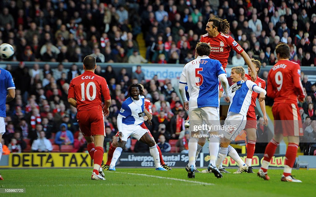 <a gi-track='captionPersonalityLinkClicked' href=/galleries/search?phrase=Sotirios+Kyrgiakos&family=editorial&specificpeople=3940791 ng-click='$event.stopPropagation()'>Sotirios Kyrgiakos</a> of Liverpool heads in the fisrt goal during the Barclays premier league match between Liverpool and Blackburn Rovers at Anfield on October 24, 2010 in Liverpool, England.