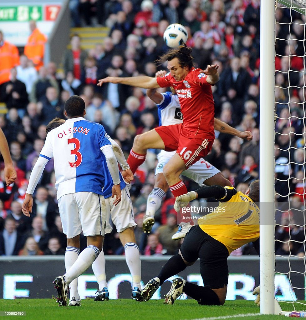 <a gi-track='captionPersonalityLinkClicked' href=/galleries/search?phrase=Sotirios+Kyrgiakos&family=editorial&specificpeople=3940791 ng-click='$event.stopPropagation()'>Sotirios Kyrgiakos</a> of Liverpool tries a header during the Barclays premier league match between Liverpool and Blackburn Rovers at Anfield on October 24, 2010 in Liverpool, England.