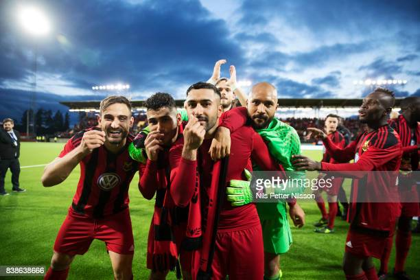 Sotirios Papagiannopoulus Hosam Aiesh Saman Ghoddos Aly Keita of Oestersunds FK celebrates after the victory by making a 'moneysign' during the UEFA...