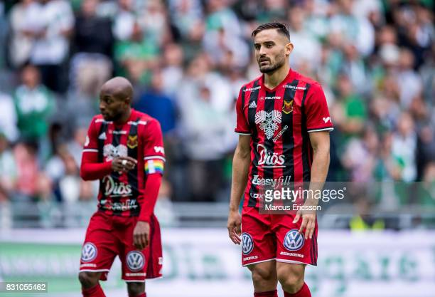 Sotirios Papagiannopoulus of Ostersunds FK during the Allsvenskan match between Hammarby IF and Ostersunds FK at Tele2 Arena on August 14 2017 in...