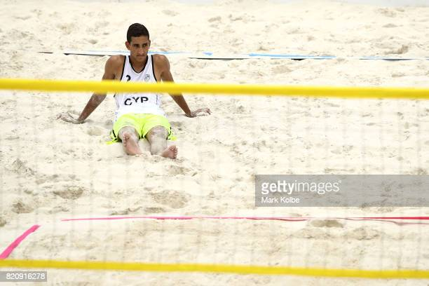 Sotiris Siapanis of Cyprus looks dejected during the boy's beach volleyball gold medal final match between Javier Bello and Joaquin Bello of England...