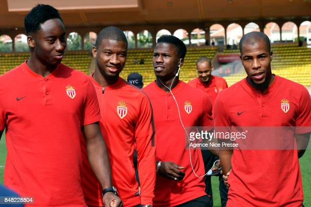 Soualiho Meite Almamy Toure Balde Keita and Djibril Sidibe of Monaco during the Ligue 1 match between AS Monaco and Strasbourg at Stade Louis II on...