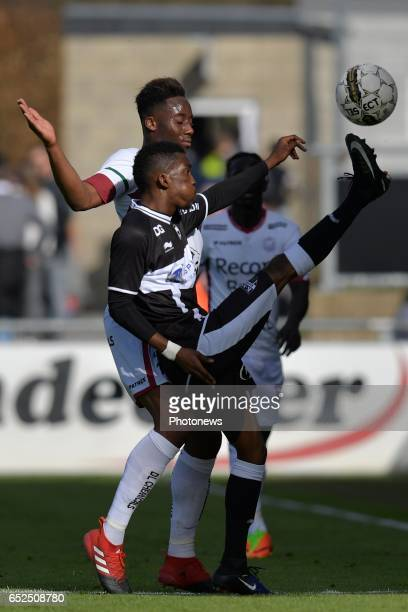 Soualiho Meite of SV Zulte Waregem and Henry Onyekuru of KAS Eupen during the Jupiler Pro League match between KAS Eupen and SV Zulte Waregem at the...