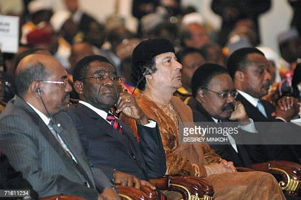 Soudanese President Oumar El Bechir Equatorial Guinea's President Teodoro Obiang Nguema Mbazogo Lybyan Leader Moamer Kadhafi Gabon's President Omar...
