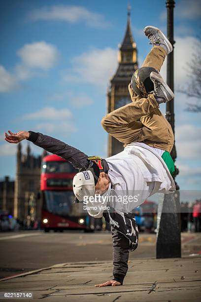 Soufiane El Marnissi of Belgium performs in front of Big Ben on the Westminster bridge during the final training session of the freestyle football...