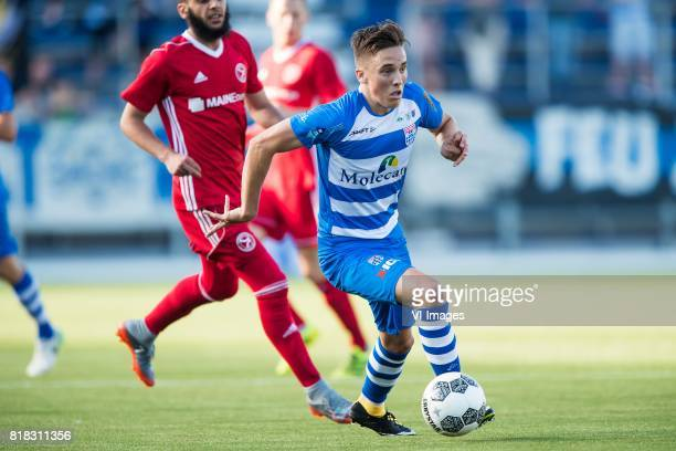 Soufyan Ahannach of Almere City FC Ryan Thomas of PEC Zwolle during the friendly match between PEC Zwolle and Almere City at at the MAC3Park stadium...