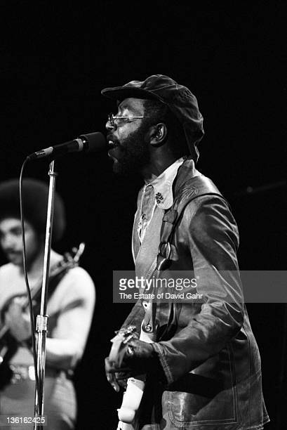 Soul musician Curtis Mayfield performs at Hofstra College on November 6 1972 on Long Island New York