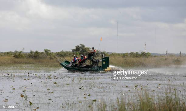 Soul River group ride through the Everglades during an airboat tour at the Arthur R Marshall Loxahatchee National Wildlife Refugee in Boynton Beach...