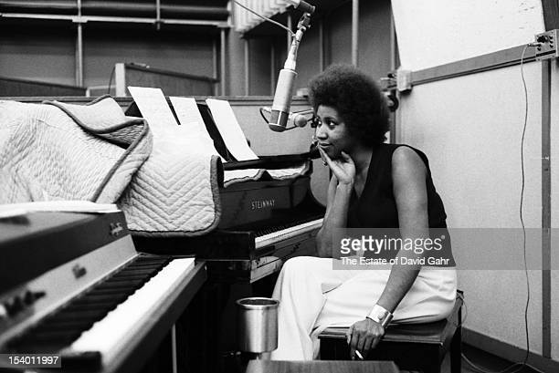 Soul singer Aretha Franklin at the piano during a recording session on April 24 1973 at the Atlantic Records studios in New York City New York