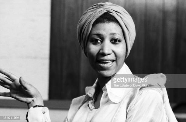 Soul singer Aretha Franklin poses for a portrait on January 14 1974 at the Atlantic Records studios in New York City New York