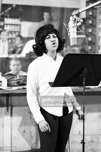 Soul singer Aretha Franklin recording in the studios of Atlantic Records in December 1967 in New York City New York