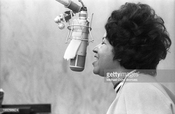 Soul singer Aretha Franklin sings in the Atlantic Records studio during 'The Weight' recording session on January 9 1969 in New York City New York