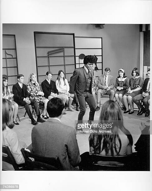 Soul singer James Brown performs at KCOP Studios on the Lloyd Thaxton Show in 1964 in Los Angeles California